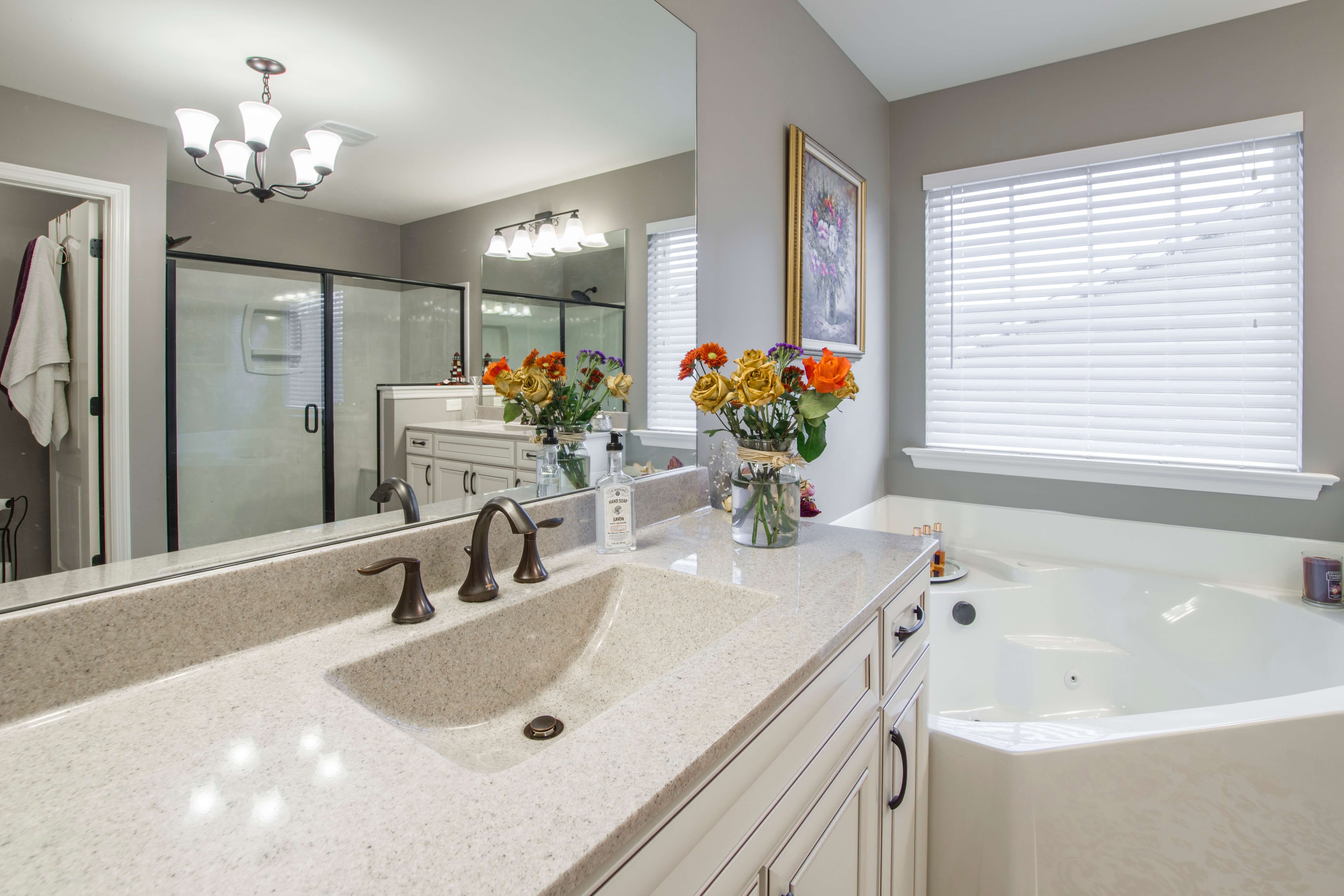 Remodeled bathroom with soaker tub